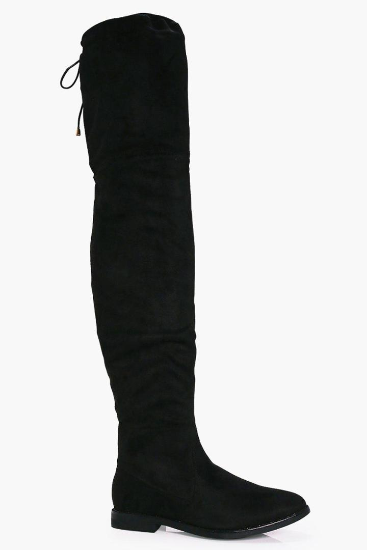 Boohoo Julia Flat Thigh High Boot Black