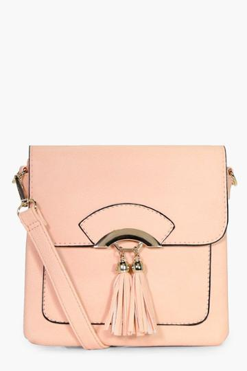 Boohoo Olivia Double Tassel Cross Body Bag Blush