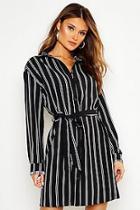 Boohoo Stripe Print Shirt Dress
