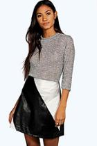 Boohoo Belle Metallic Colour Block Mini Skirt