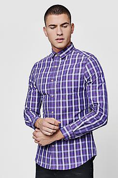 Boohoo Long Sleeve Slim Fit Purple Check Shirt