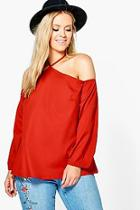 Boohoo Plus Maisie Open Shoulder Woven Blouse