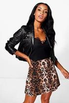 Boohoo Giselle Leopard Print A Line Mini Skirt