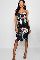 Boohoo Tamara Strappy Floral Wrap Midi Dress