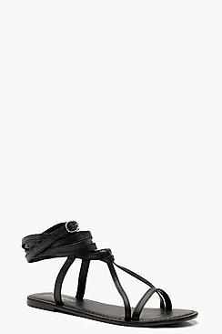 Boohoo Wrap Strap Leather Ghillie Sandals