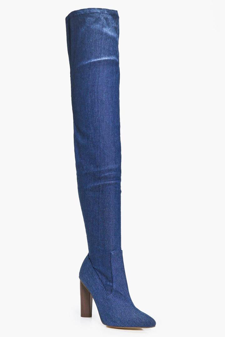 Boohoo Abigail Denim Thigh High Boot Denim
