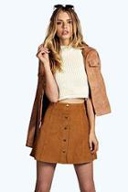 Boohoo Laura Cord Button Through Mini Skirt