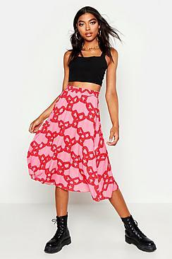 Boohoo Tall Chain Print Midi Skirt