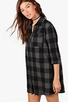 Boohoo Oversized Check Shirt Dress