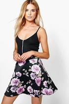 Boohoo Avah Floral Skater Skirt