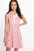 Boohoo Leanne Sleeveless Polo Skater Dress