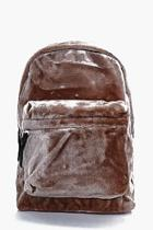 Boohoo Taupe Faux Fur Backpack