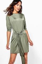 Boohoo Alessa Wrap Detail Slinky Bodycon Dress