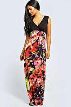 Boohoo Kiera Rose Print Maxi Dress