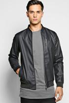 Boohoo Pu Ma1 Bomber Jacket With Zipped Chest Pocket Black