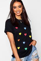 Boohoo All Over Heart Print Tee