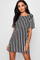 Boohoo Petite Arielle Striped T Shirt Dress