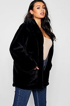 Boohoo Plus Supersoft Faux Fur Pocket Jacket