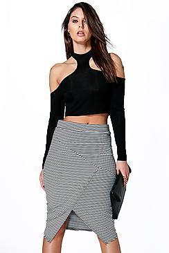 Boohoo Vera Striped Sliced Midi Skirt