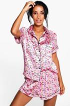 Boohoo Ella Kitsch Print Satin Tshirt And Short Set Pink