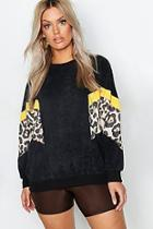 Boohoo Plus Cord Leopard Detail Sweat