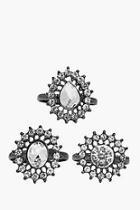 Boohoo Ellie 3 Piece Diamante Embellished Ring Pack