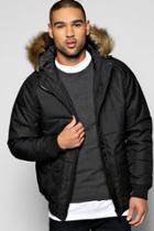 Boohoo Quilted Zip Through Parka With Faux Fur Hood Black