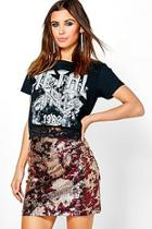 Boohoo Petite Lizzie Sequin Aline Mini Skirt