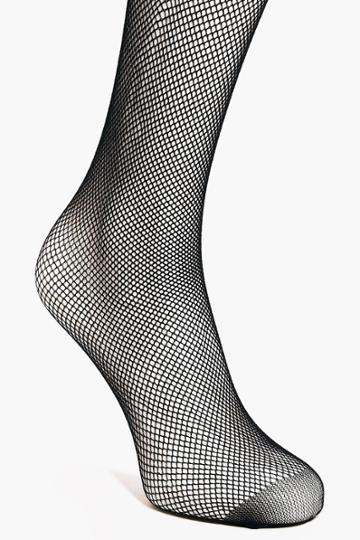 Boohoo Maya Micro Fishnet Tights With Back Seam Black