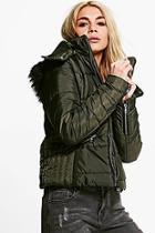 Boohoo Ava Crop Padded Jacket With Faux Fur Hood