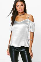 Boohoo Eliza Satin Open Shoulder Blouse Silver