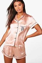 Boohoo Riley 'r' Embroidered Satin Shirt & Short Set