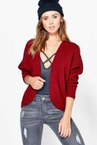 Boohoo Petite Annie Batwing Cardigan Berry