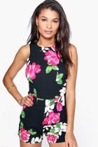 Boohoo Monique Floral Print Sleeveless Playsuit Black