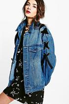 Boohoo Vintage Wash Lace Up Denim Jacket