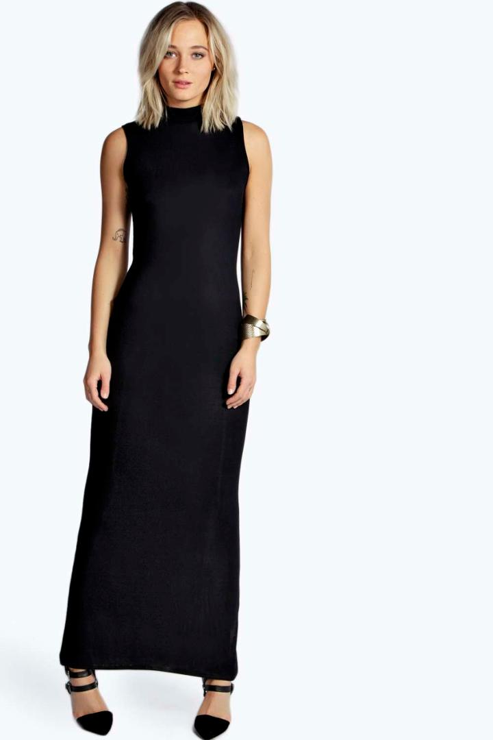 Boohoo Alexa High Neck Maxi Dress - Black