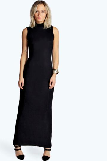 Boohoo Alexa High Neck Maxi Dress - Black