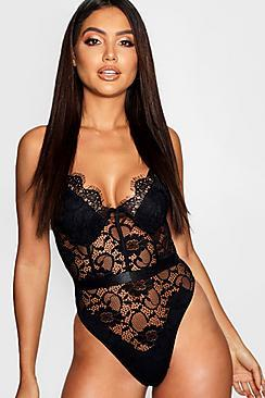 Boohoo Eyelash Lace Waist Detail Body