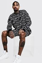 Boohoo All Over Man Scuba Sweater Short Tracksuit