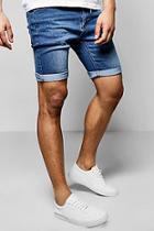 Boohoo Skinny Fit Blue Washed Denim Shorts