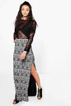 Boohoo Tall Verity Elephant Print Split Side Maxi Skirt