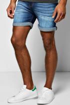 Boohoo Skinny Fit Indigo Wash Denim Shorts In Short Length Indigo