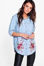 Boohoo Ellie Oversized Distressed Embroidered Denim Shirt