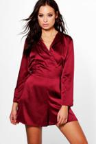 Boohoo Rose Long Sleeved Wrap Front Satin Playsuit Berry