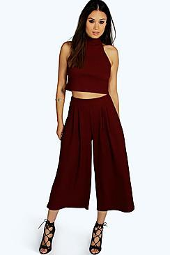 Boohoo Rose High Neck Crop & Culotte Co-ord Set