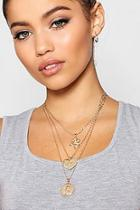 Boohoo Rose Heart Sovereign Layered Necklace
