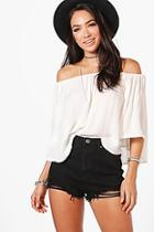 Boohoo Angled Distressed Denim Shorts