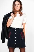 Boohoo Alexis Button Through Embroidery Denim Skirt Black