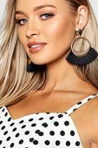 Boohoo Gold Hoop Tassel Earrings