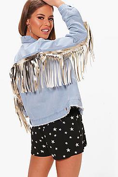 Boohoo Petite Paige Metallic Pu Fringe Denim Jacket